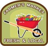 农夫的市场标志新和地方传染媒介 向量例证