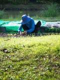 农夫种植在剧情的幼木 前面是绿草 后面是耕种的一个池塘 库存图片