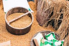 农夫稻桶木头的 库存照片