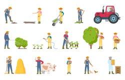 农夫繁忙与季节工作传染媒介例证 库存例证