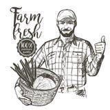 农夫运载的蔬菜 库存图片