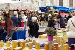 农夫` s市场在艾克斯普罗旺斯,在法国南部 图库摄影