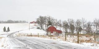 农村农场冬天场面Panorma阿巴拉契亚边陆的 库存图片