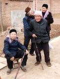 农村四位的老人 免版税图库摄影
