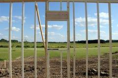农村国家风景通过新建工程 免版税库存图片