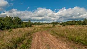 农村土路通过与干燥高草的夏天领域和灌木在蓝色多云天空下 免版税图库摄影