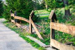 农村土路,美丽的村庄在夏天,在老下落的篱芭下的路 图库摄影