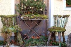 农村圣诞节在Hallstatt,奥地利 免版税库存照片