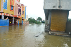洪水农村在印度 免版税库存图片