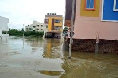 洪水农村在印度 库存照片