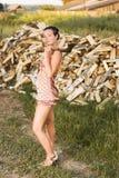 农村女孩的纵向 免版税库存照片