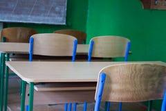 农村学校书桌 库存图片