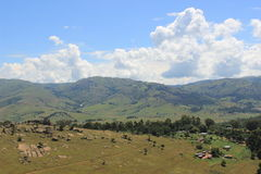 农村斯威士兰,看见从Sibebe岩石,南非,非洲风景 库存图片
