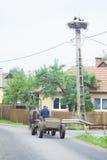 农村看法在罗马尼亚 在波兰人的鹳巢 图库摄影
