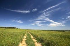 农村美丽的空的横向的路 库存图片
