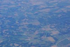 农村美国东部的航空摄影 免版税库存图片