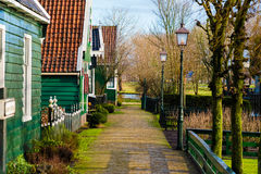 农村荷兰风景在Zaanse Schans村庄 库存照片