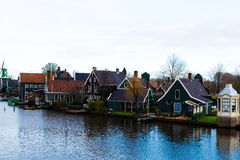 农村荷兰风景在Zaanse Schans村庄 库存图片