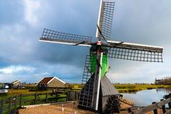 农村荷兰风景在Zaanse Schans村庄 图库摄影