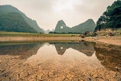 农村越南的领域的一个小湖 免版税图库摄影