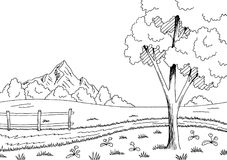 农村路图表黑白色风景剪影例证传染媒介 库存图片