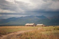 农村路导致两个房子 免版税库存照片