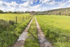 农村道路穿过一座绿色山 库存图片