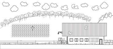 农村领域恶劣的农厂谷仓拖拉机稻草人 免版税库存照片