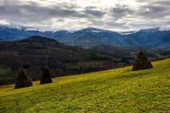 农村领域的干草堆在山坡 库存照片