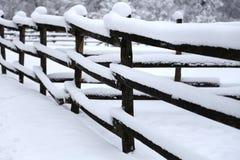 农村风景冬天风景下落的雪 免版税库存图片