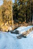 农村风景在冬天 库存图片