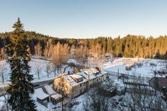 农村风景在冬天 免版税图库摄影