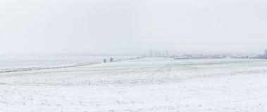 农村风景在雪的巴德夫兰肯豪森 库存照片