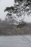 农村风景,河岸的房子有雾的天 早期的春天在中欧,乌克兰 免版税库存照片