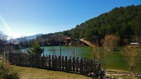 农村风景:被操刀的池塘、木篱芭和房子在背景中 免版税库存图片