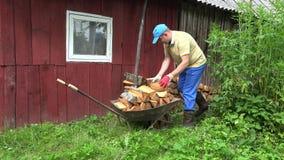 农民搬独轮车,在木屋附近卸柴 4K 影视素材
