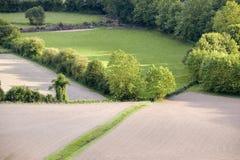 农田汇合在Sare,法国在西班牙法国边界的巴斯克地区, Labou的一个小山顶17世纪村庄 免版税库存照片