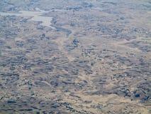 农田鸟瞰图在埃塞俄比亚 免版税库存图片