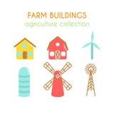 农舍例证 农夫房子和粮仓 牛棚和风车 风力涡轮设计 平面 向量例证