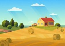 农舍的五颜六色的例证在有金黄干草堆的乡下和与影片的蓝天吵闹作用 免版税库存图片