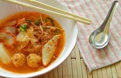 冠上切片的稀薄的米线烤了猪肉和鱼丸在辣汤 库存照片