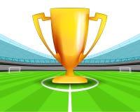 冠军杯在橄榄球场传染媒介中场  免版税库存照片