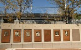 冠军美国公开赛法院在冲洗, NY的比利・简・金国家网球中心 免版税库存图片