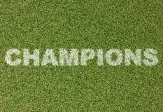 冠军-在橄榄球场2的草信件 免版税库存图片