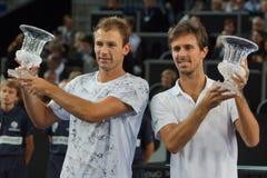 冠军Lukasz Kubot (波尔布特)和爱德华罗杰Vasselin (FRA) 免版税库存图片