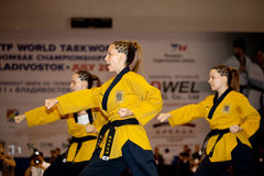 冠军poomsae第六跆拳道世界wtf 免版税图库摄影