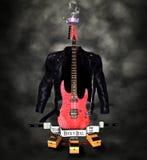 冠吉他弹奏者n岩石卷s 库存照片
