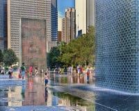 冠喷泉,千年公园,芝加哥 免版税库存照片