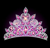冠有桃红色宝石的冠状头饰妇女 库存图片