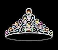 冠有闪烁的宝石的冠状头饰妇女 免版税库存照片